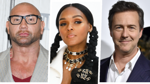 Edward Norton, Dave Batista and Janelle Monet in Rian Johnson's Knives Out 2